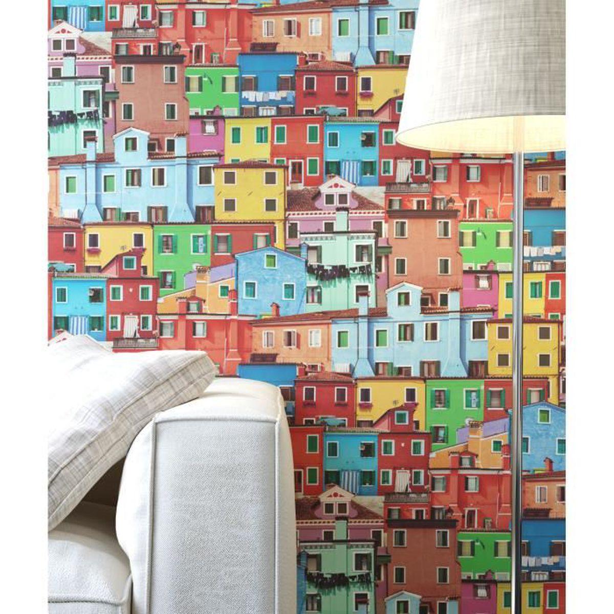 newroom papier peint color multicolore grafique moderne nature villes achat vente papier. Black Bedroom Furniture Sets. Home Design Ideas