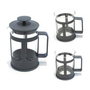 SERVICE À THÉ - CAFÉ Cafetière à piston et ses 2 tasses assorties grise