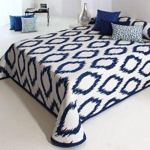 couvre lit bleu et blanc achat vente couvre lit bleu et blanc pas cher cdiscount. Black Bedroom Furniture Sets. Home Design Ideas