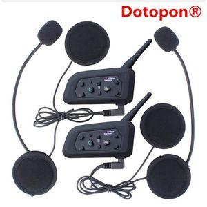 CASQUE - ÉCOUTEURS Dotopon®2 pcs V6 Multi BT Interphone 1200 M Moto B