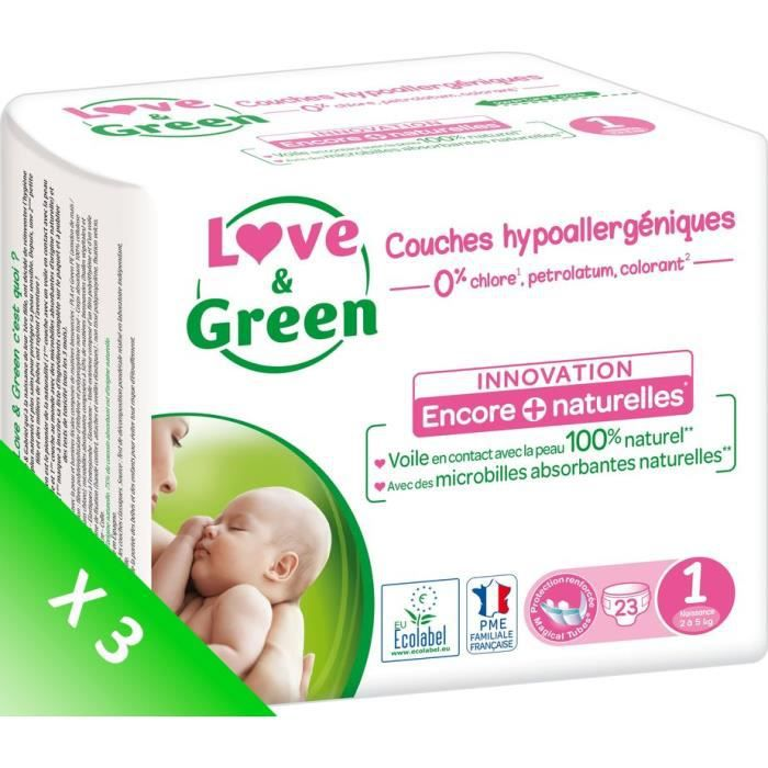 LOVE AND GREEN Couches ecolabellisées T1 - 69 couches - Eco Pack