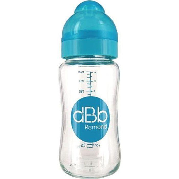 DBB REMOND Biberon Lo Verre 240 Ml Tétine Silicone 0-4 Mois - System Turquoise Translucide - S/Bte