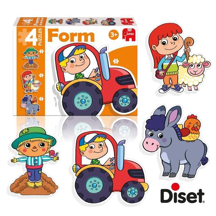 DISET 4 Puzzles Animaux Form Ferme