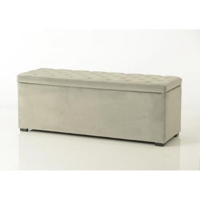 bout de lit coffre en tissu velours capitonn gris clair achat vente bout de canap bout de. Black Bedroom Furniture Sets. Home Design Ideas
