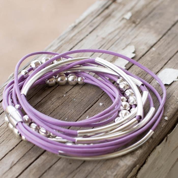 Bracelet en cuir Lilas Wrap femmes Taille 6.5 avec des perles mélodieuses et fermoir magnétique Pour Contemp L1JCE
