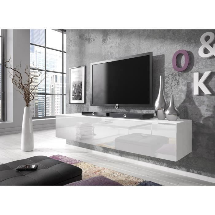 meuble tv suspendu blanc laque achat vente pas cher. Black Bedroom Furniture Sets. Home Design Ideas