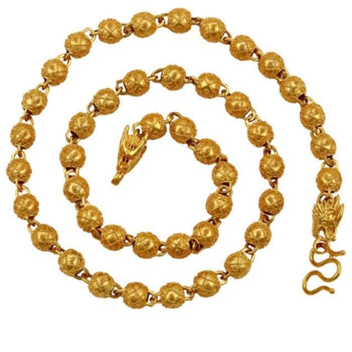 83f5b2585b85b bijoux hip-hop chaîne de perles plaqué or jaune 18 carats hommes collier 24  pouces, 7mm