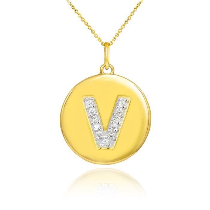 Pendentif 10 ct 471/1000 Or lettre initiale Vpendentif en forme de diamant Disc