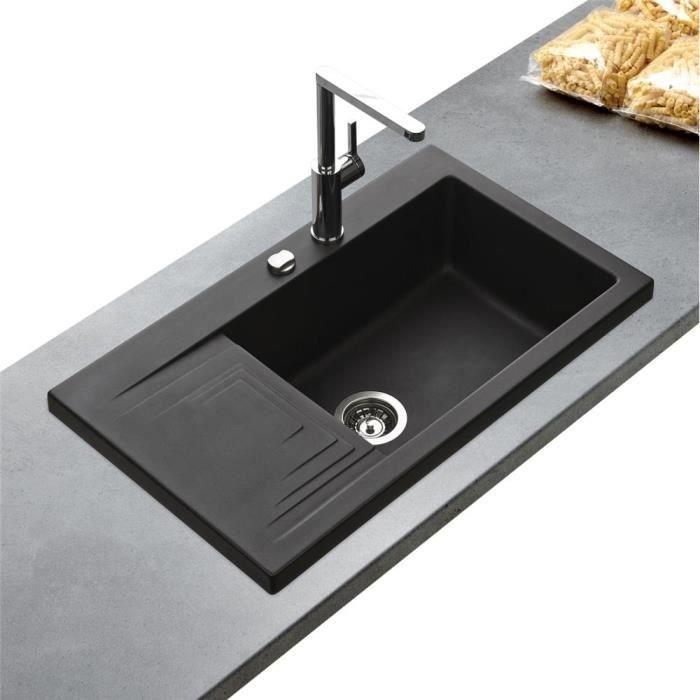 vier granit noir k mbad pepino 1 bac gouttoir gauche cuisissimo achat vente evier de. Black Bedroom Furniture Sets. Home Design Ideas