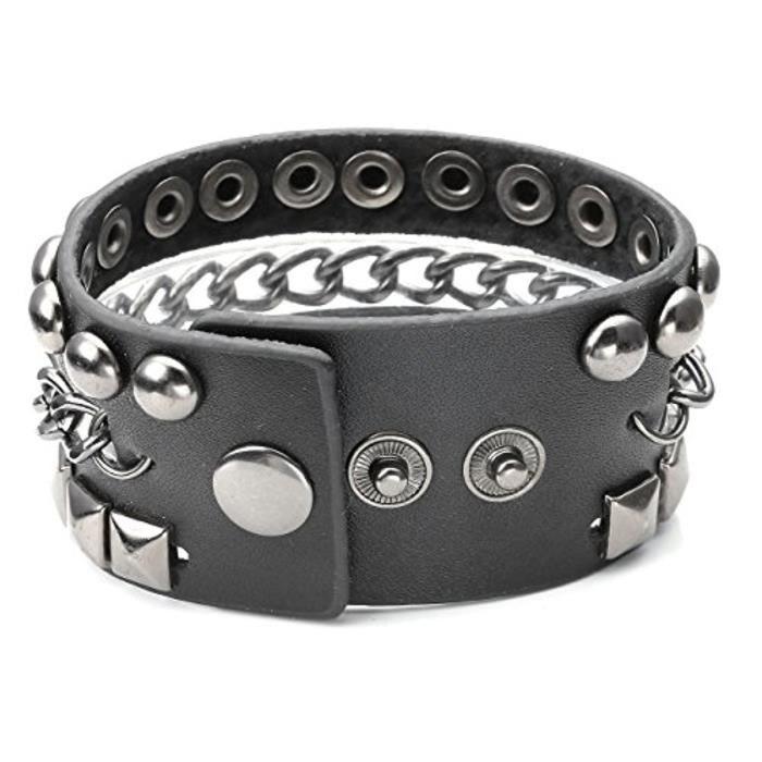Unisexe Bijoux Bracelet Punk Cool Leather Cuir Véritable Reglable 3 Cercles Rivets Carré Rond Chaîne Mental Alliage Noir