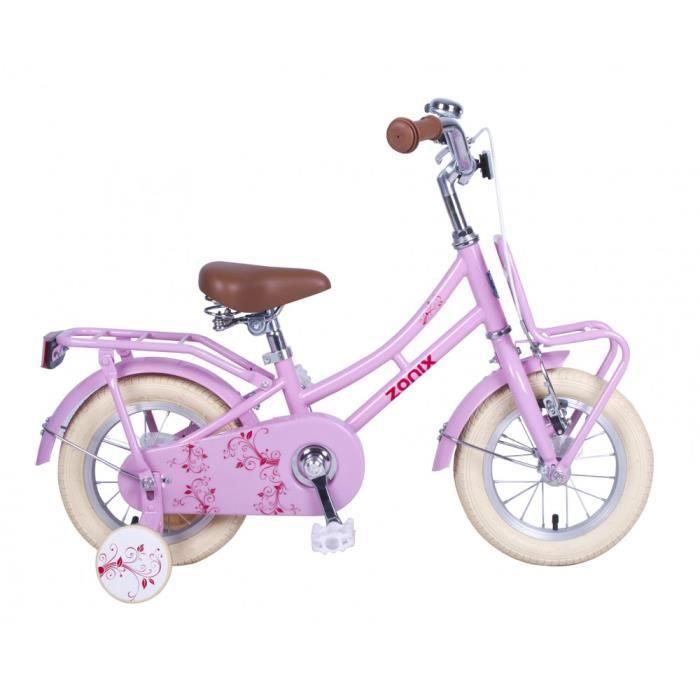 d400ef1c7c3ba1 Vélo Fille Zonix 12 Pouces Frein à Rétropédalage et Stabilisateurs Amovibles  Rose 85% Assemblé