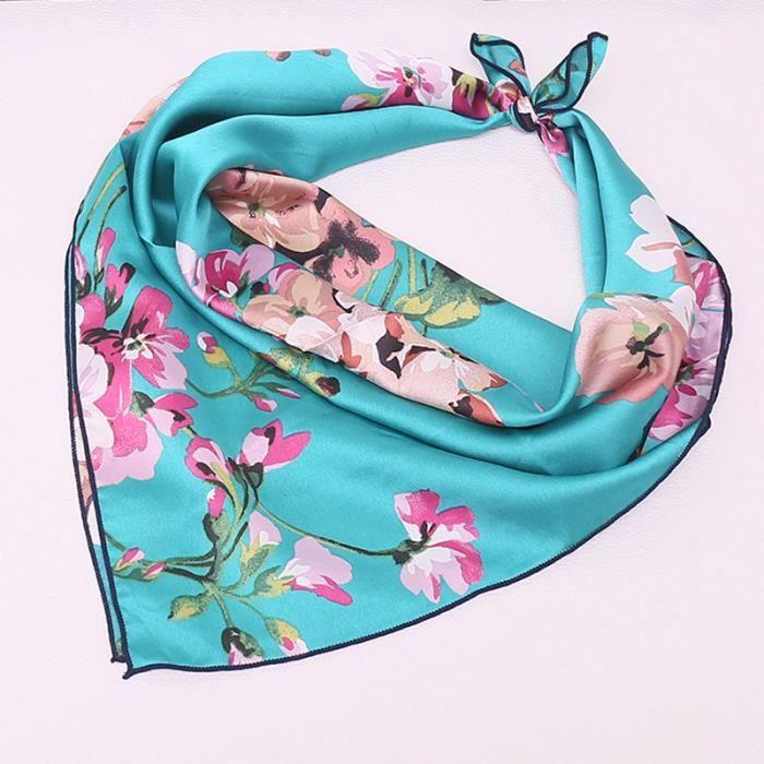 2918adb14a709 70 70cm foulard imprimé en satin bandana carré floral bandeau pour femme  fille couleur vert