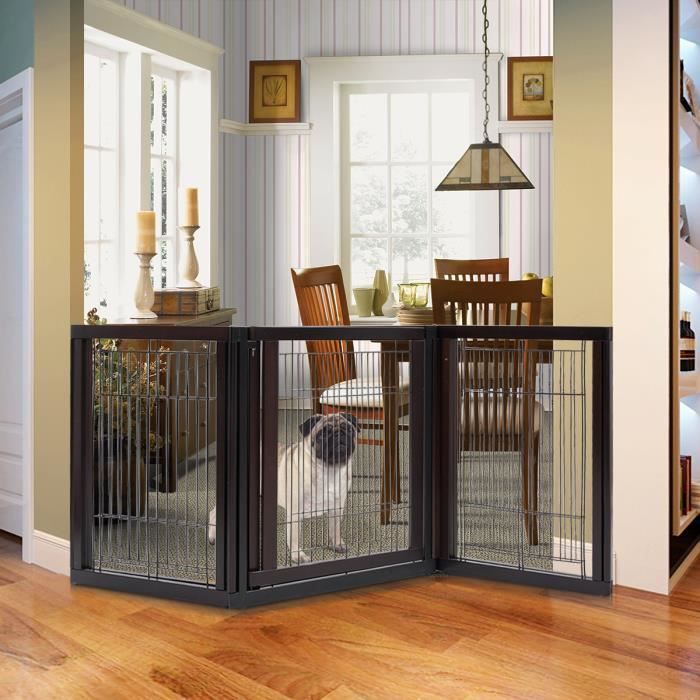 COSTWAY Cage Pour Chien Pliable Porte Pliante Pour Chien 61 X 77 Cm Brun En  Bois De Pin