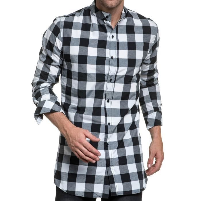 1d18d3bddbd8 Chemise homme stylé noire et blanche à carreaux oversize Blanc ...