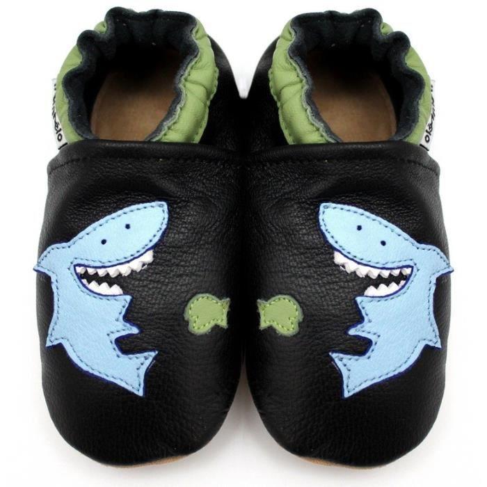 ead0d2a26a8a6 MeliMelo - Chaussons Cuir Souple Requin Noir - Noir Noir - Achat ...