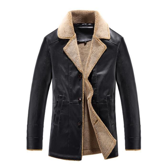fourrure blouson hiver hommes faux veste en cuir homme col. Black Bedroom Furniture Sets. Home Design Ideas