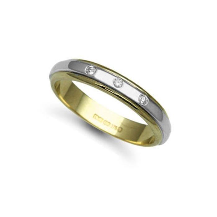 Jewelco LondonOr 2 couleurs 18k 0.06ct Diamant éternité Ruban Plat Alliance 4mm