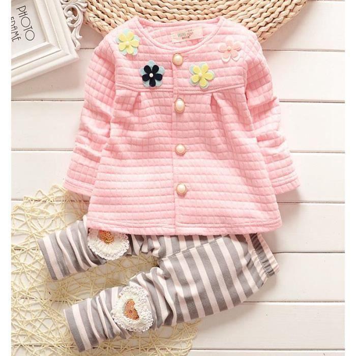 68d99bce7d28a vetement pour bebe fille ensemble a manches longues   robe+ pantalon  2pcs set 0-2 ans cotton
