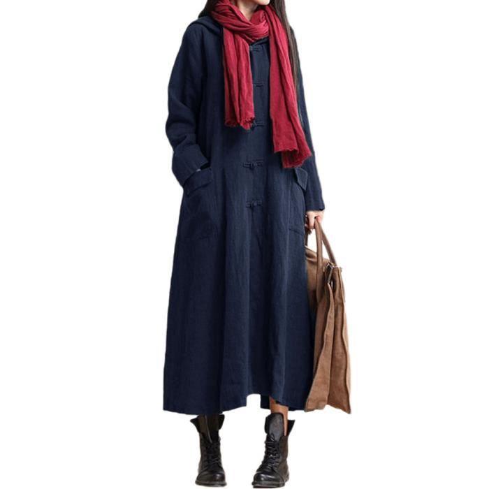 891fbdc2e8b Femmes parka à Capuchon Loose Long Windbreaker Casual Maxi Manche Longue  Robe Veste Manteau Avoir des poches Bleu