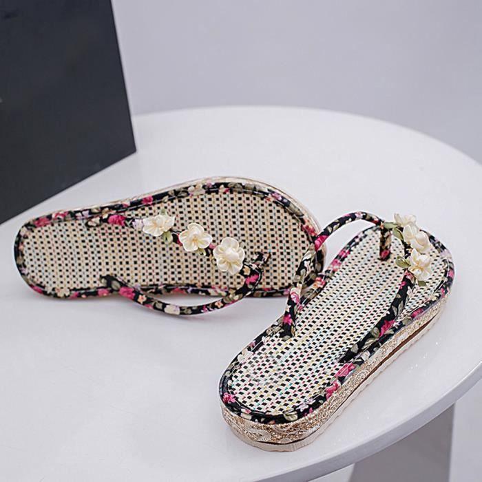 Tongs D'été Spartiates Chaussures toe Peep Bas Dames Noir Sandales xqw0dCgnq