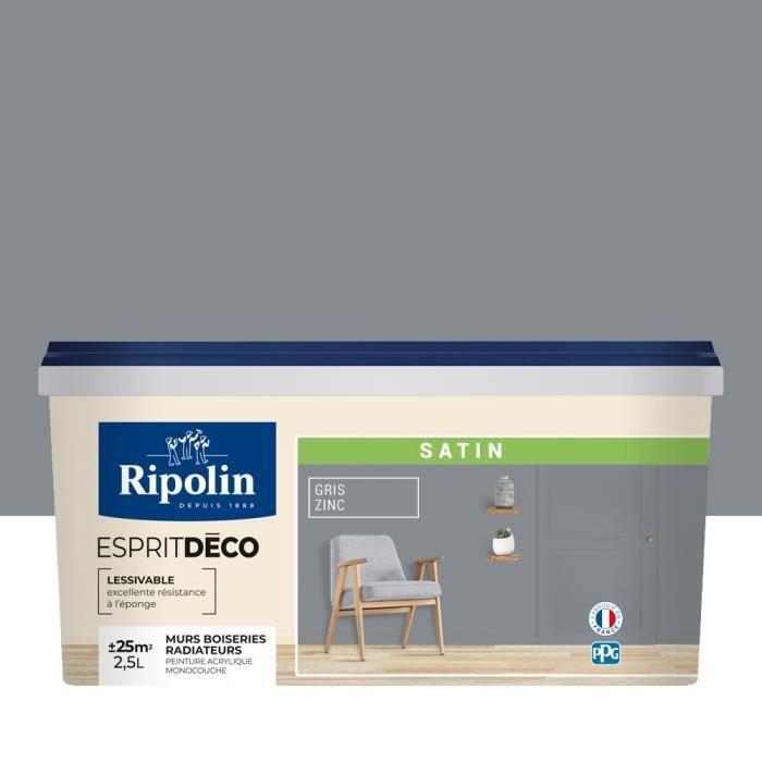 RIPOLIN Peinture Murale Toutes Pièces - Gris Zinc Satin, 2,5L