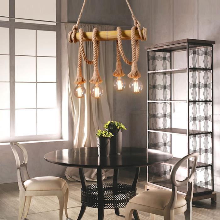 LUSTRE ET SUSPENSION TEMPSA Lampe suspension en bambou de corde de chan