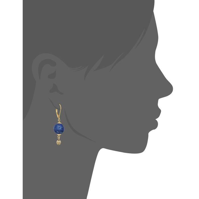 1928 Jewelry 14k Gold Dipped Genuine Semi Precious Gemstone Blue Sodalite Round Drop Earrings OIPWF