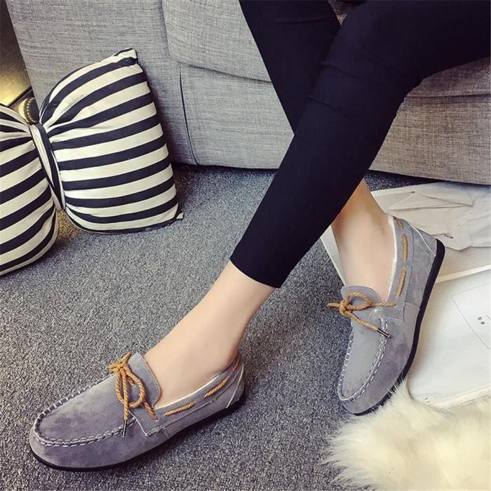 Haut Marron gris roux 40 Beau 35 Chaussures Mocassin noir Femme Confortable Qualité Antidérapant Mode qanq1REp