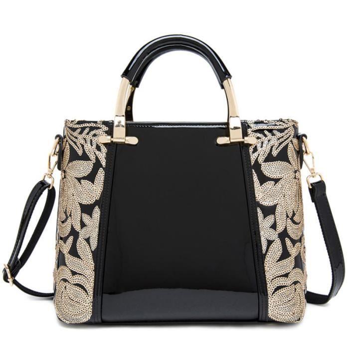 sac à main Femmes Sacs 2017 Mode Paillettes Fleur marque célèbre Besaces Sacs Designer en cuir pour femmes Totes-2839