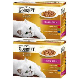 Un produit acheté = le second ? -70% - GOURMET Gold Double Délice Multivariétés - Pour chat adulte - 12x85 g