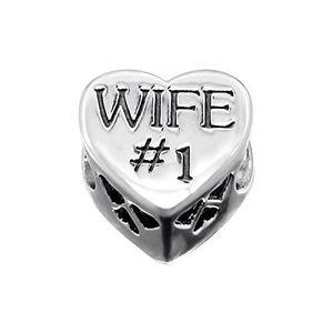 Charm's Femmes Wife n ° 1 coeur d'amour de cristal en arge