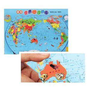 PUZZLE Carte du monde Fun Puzzle magnétique stéréo en boi