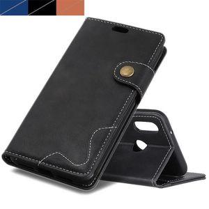 HOUSSE - ÉTUI Coque Huawei Y6 2019, Noir Premium Cowhide Texture