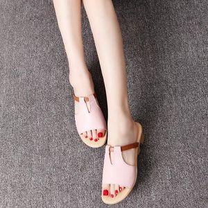 SANDALE - NU-PIEDS Sandale Femme Casual Cuir Véritable Plage Flip Flo