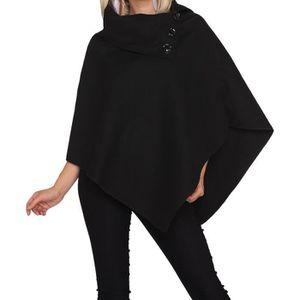PONCHO poncho cape manteau veste noir fabriqué en italie