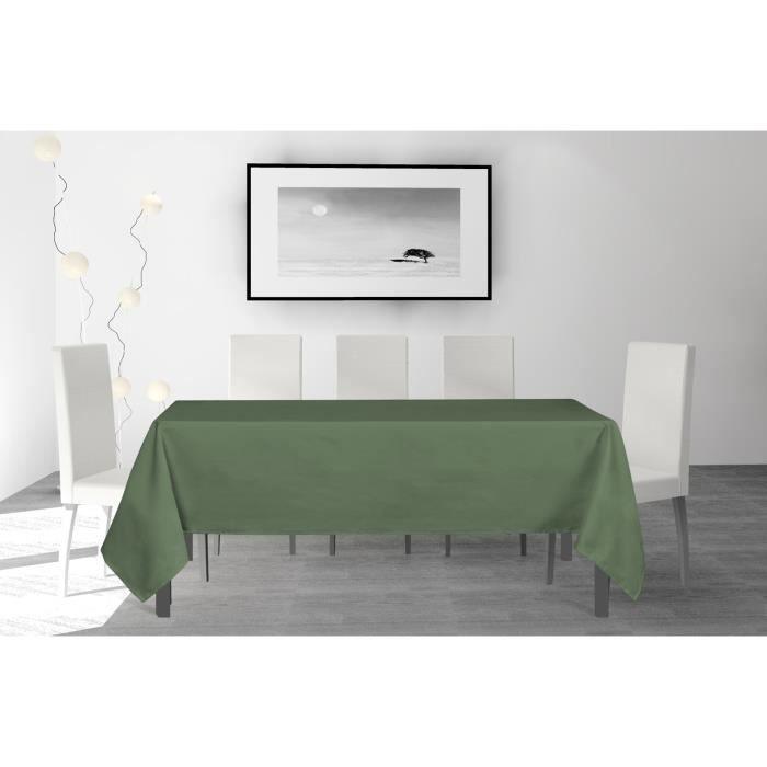 SOLEIL D'OCRE Nappe anti-tâches rectangle Alix - 160 x 270 cm - Vert
