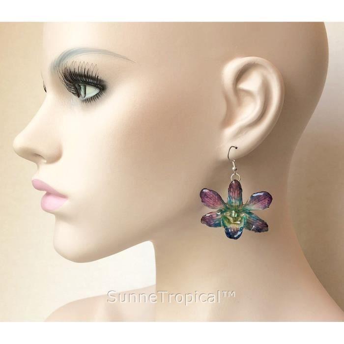 Femmes Dendrobium Orchidée vraie fleur bijoux boucle doreille - Turquoise Violet X7RPQ