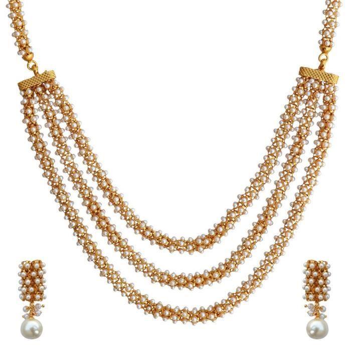 Mariage blanc Kundans des femmes en alliage de cuivre Ensemble de bijoux avec collier et boucles doreilles pourPGCP4