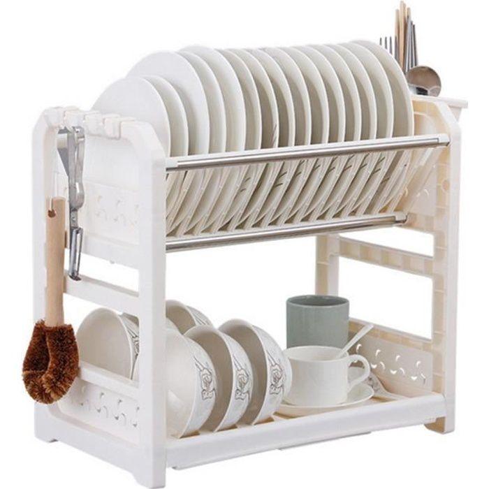 porte vaisselle gouttoir vaisselle 2 tages en plastique achat vente egouttoir. Black Bedroom Furniture Sets. Home Design Ideas