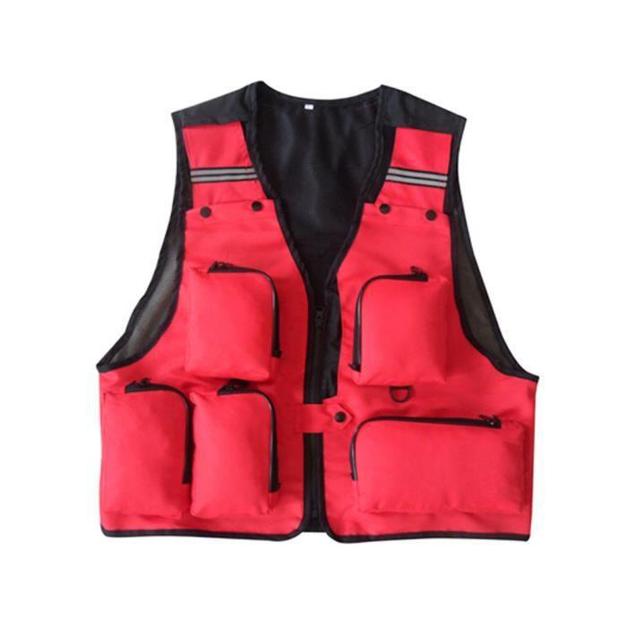 Fisherman Vest Photographe Gilet Pour Homme rouge, XXL