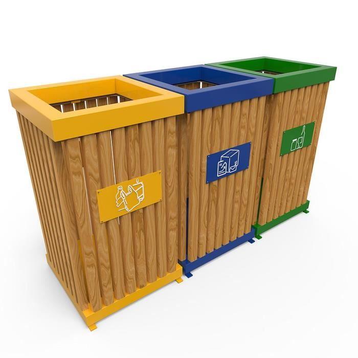 Boras m poubelle de tri s lectif en t le d cor en bois achat vente poubelle tri s lectif - Poubelle de tri selectif cuisine ...