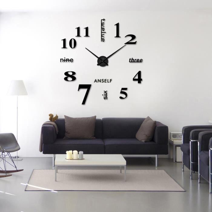 Horloge mural Chiffres autocollant Noir en Verre acrylique cadeau créatif  Décoration moderne pour salon chambre bureau