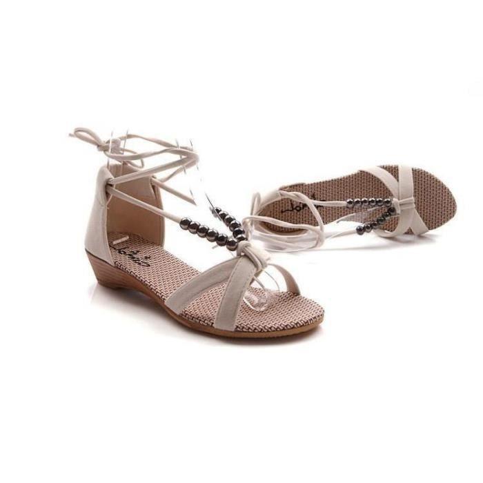 Sandales Femmes Chaussures de Plage Plates Boucle Cheville Bout Ouvert