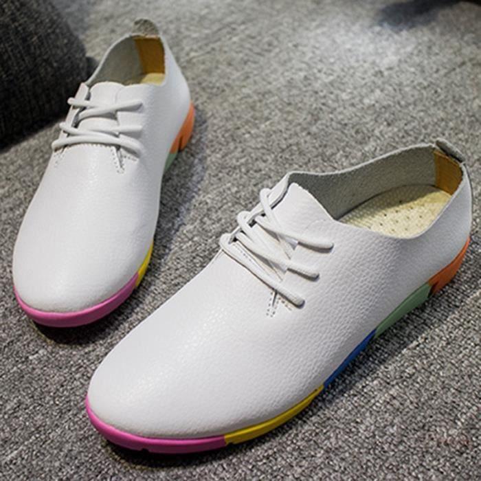 chaussures multisport Femme simple cuir véritable Souliers simples de femme blanc taille39