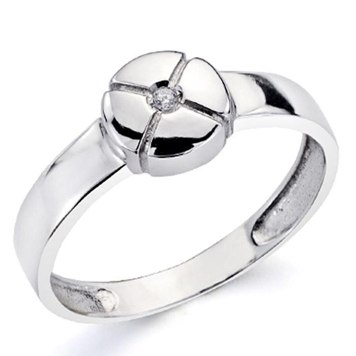 Bague 18k diamant blanc brillant 0,015ct 1 [7319] - Taille: 52