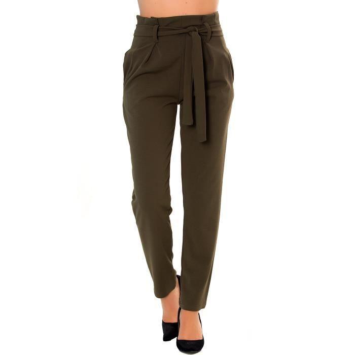 prix compétitif grand choix de nouvelle sélection Dmarkevous - Pantalon taille haute femme Vert kaki coupe ...