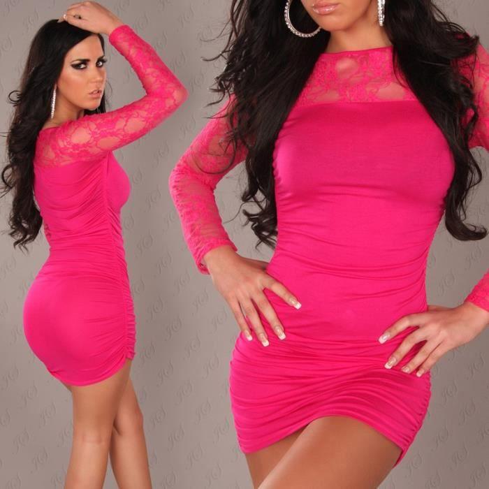 b1d9b628d2f2d robe courte moulane rose avec de la dentelle femme sexy tendance fashion
