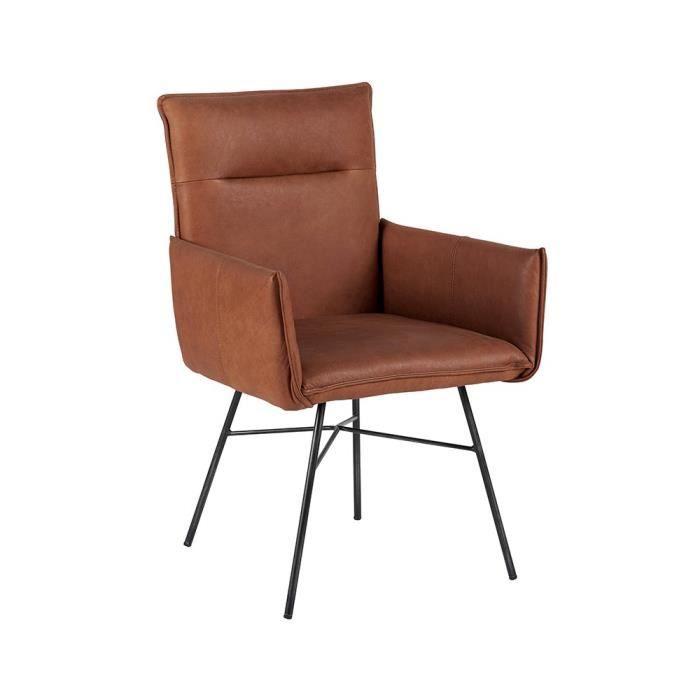 Fauteuil cuir et fer achat vente fauteuil cuir et fer for Chaise fauteuil cuir