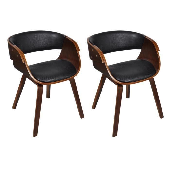 Lot de 2 chaises accoudoirs confortable achat vente for Chaise cuir et bois
