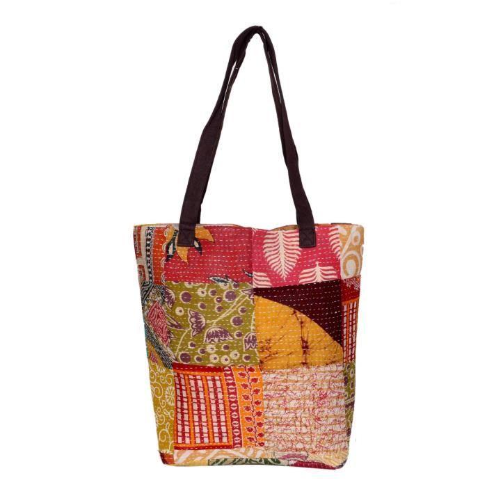 femmes vintage coton kantha travail toile poignée sacs à bandoulière à la main RVC7B